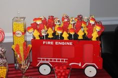 boy's fireman birthday party table www.spaceshipsandlaserbeams.com