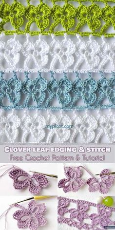 Clover Leaf Stitch Free Crochet Pattern and Tutorial Clover-trefoil-leaf-stitch-free-crochet-pattern The Effective Pictures We Offer You About Crochet tutorial A quality picture can tell you many. Crochet Edging Patterns, Crochet Motifs, Crochet Borders, Crochet Squares, Crochet Designs, Stitch Patterns, Knitting Patterns, Crochet Sheep, Crochet Leaves