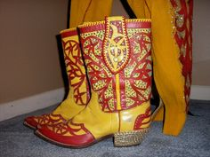 Nudie Cohen boots circa 1950....yep as colorful as the man himself! SOLD from Cayuse Gallery in Jackson, Wyoming. cayusewa.com