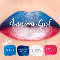Learn to mix it up.  Use LipSense Mixology to create this American Girl LipColor by Layering Blu-J, Midnight Muse, Snow and Fire n Ice.  #lipsense #mixitup #lipsensemixology