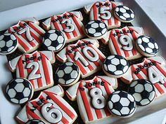Soccer cookies~ with teammates name and number By sugar bliss cookies, White black, red shirts Volleyball Cookies, Soccer Cookies, Soccer Snacks, Soccer Cake, Soccer Party, Cupcakes, Cupcake Cookies, Sugar Cookies, Galletas Cookies