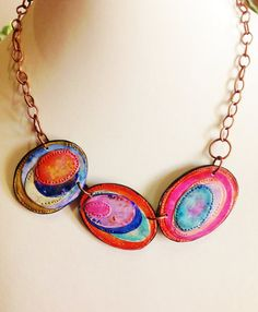 Polymer clay, necklace, unique handmade