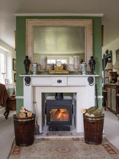 Gorgeous Fireplace with our own JS Mahogany Log Buckets. Furniture Collection, House, Inspiration, Buckets, Design, Home Decor, Biblical Inspiration, Decoration Home, Home