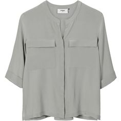 Pyrus Joni Silk Pocket Shirt - Eau De Nil (17.585 RUB) ❤ liked on Polyvore featuring tops, shirts, blouses, blusas, camisas, eau de nil, holiday shirts, pocket shirt, cocktail tops and loose fitting shirts