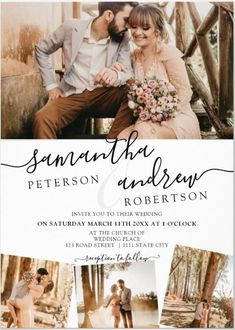 This Modern Wedding Invitation features a Minimalist design with 5 Photo Grid Collage. A black and white script brushstroke mask at the front over your own favorite photo. The back side features the 5 Photo Grid Collage along with the couples named and your wedding details.