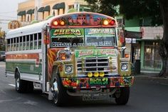 Chiva Bus !! A school bus on an acid trip lol . Miss seeing them , what yellow cabs are to New York City that is what chiva buses are to Panama . Crazy driving and all !!