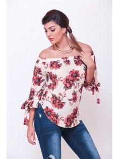 Blusa estampada de flores con lazo en la manga, estilo campesina Cod:2590t2