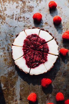 rasperry rhubarb yogurt tart in almond cocoa crusts: an easy, no-bake recipe that's low glycemic, gluten-free and full of protein and good fats