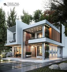 house plans The Best Duplex House Elevation Design Ideas you Must Know Uses of Solar Power Solar pow Modern Exterior House Designs, Modern House Facades, Modern Villa Design, Dream House Exterior, Modern Architecture House, Modern House Plans, Cool House Designs, Architecture Design, Building Architecture