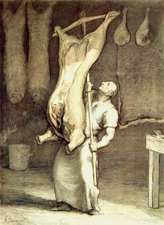 The Butcher, Honoré Daumier Michelangelo, Honore Daumier, Art Français, Museum Studies, Gustave Courbet, Norman Rockwell, Realism Art, Silhouette, Wood Engraving