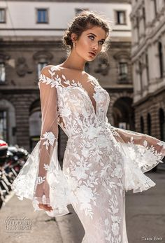 Tarik Ediz Wedding Dresses 2019 - The White Bridal Collection. Lace mermaid wedding dress with log bell sleeves more gorgeous wedding dresses by clicking on the photo Western Wedding Dresses, Sexy Wedding Dresses, Gorgeous Wedding Dress, Bridal Dresses, Wedding Gowns, Bridal Collection, Dress Collection, Lillian West, Dresses Elegant