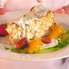 Crab and Corn Cheesecake with a Green Onion Coulis - Recipe Crab and Corn Cheesecake with a Green Onion Coulis – Back when Emeril's Restaurant - Cajun Recipes, Seafood Recipes, Appetizer Recipes, Cooking Recipes, Appetizers, Cajun Food, Savory Cheesecake, Cheesecake Recipes, Seafood Dishes