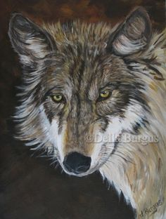 Wildlife Wolf Acrylic Painting by Della Burgus, painting by artist Art Helping Animals