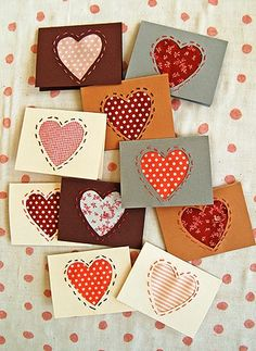 fabric heart cards