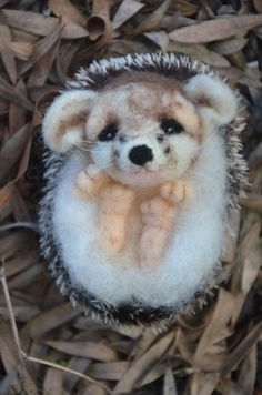 Needle felted Hedgehog with made with by NeedleFeltedLove on Etsy, $50.00