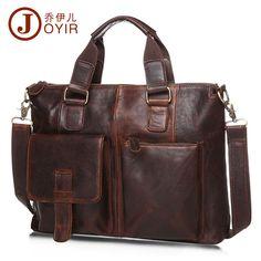 5193aeeb0c Men Oil Wax Leather 14   Laptop Weekender Document Briefcase With Front  Pocket  JOYIR
