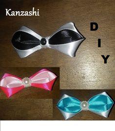 DIY/MK/Tutorial/Noeud papillon/Bowtie/Kanzashi/black and white