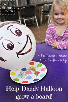 Fun static electricity science for toddlers - help Daddy Balloon grow a beard