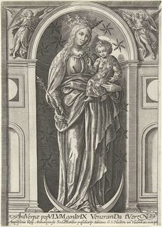 Samuel van Hoogstraten | Madonna met kind, Samuel van Hoogstraten, Pierre Firens, 1580 - 1638 | Madonna met kind in een nis met sterren, met onder haar voeten een halve maan en in haar rechterhand een scepter.
