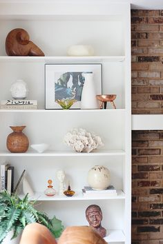 Shelf Styling built-ins - neutrals simple with vintage pieces. No Makeup Home Tour hosted by House of Hipsters — what a blogger's home looks like in real life.