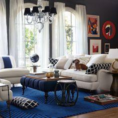 Blue walls, blue rug