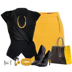 """Mustard Skirt"" by lkthompson on Polyvore"