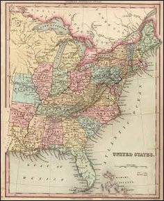 Maps: This antique map of the United States comes from the New Universal Atlas, containing maps of the various Empires, Kingdoms, States and Republics of the World by H.S. Tanner. The New Universal Atlas was published by the author in 1836 at Philadelphia USA. #maps #history #US