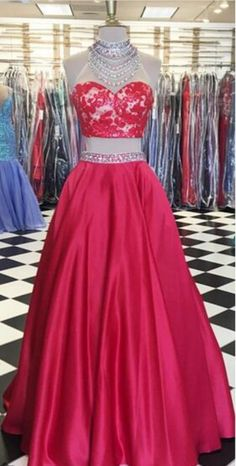 Cheap prom dresses ,Red Two Pieces Prom Dresses