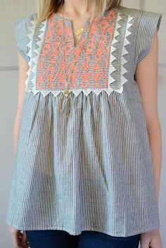 Grey and White Striped Peasant Top with Embroidery
