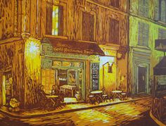"""Late Night at the Corner Cafe"" linocut by Louise Stebbing"