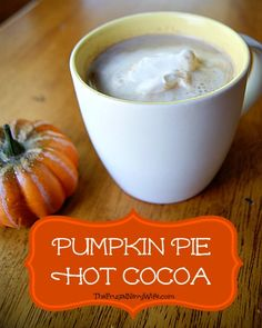 Pumpkin Pie Hot Cocoa is a delicious fall treat for kids or moms and dads to enjoy. Sweet and decadent it will surely warm you all the way to your toes on a cool fall day Pumpkin Recipes, Fall Recipes, Holiday Recipes, Holiday Foods, Hot Cocoa Recipe, Cocoa Recipes, Yummy Treats, Yummy Food, Healthy Food