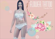 "darkmarron: "" ♥ Flower Tattoo ♥ ♥ A floral tattoo for your female and male Sims ♥ 1 swatch ♥ Model, Cassandra Grusel, ( by me ) ♥ Enjoy the game! Thanks to all CC Creators!!! Please don't re-upload..."