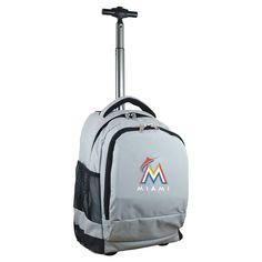 MLB Miami Marlins Premium Wheeled Backpack - Grey