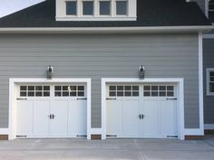 Model 5330 Double sided steel insulated garage doors with Fiber accent batten overlay, top clear glass with square stockton design installed by the Richmond store.