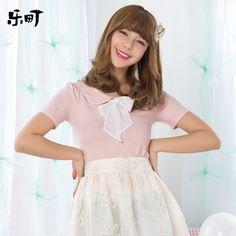 乐町2014夏装新款女装娃娃领针织打底衫女t恤 女 短袖C1DA3172-tmall.com天猫