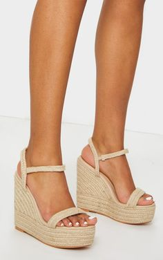 Natural Espadrille Wedges nWedges are essential for any SS wardrobe and we are obsessing over this espadrille design Featuring espadrille style heeled wedge soles and straps they re perfect for adding to any summer look nWoven nBuckle fastening 5 Heel Summer Looks, Wedge Heels, Espadrilles, Wedges, Natural, Shoes, Style, Design, Products