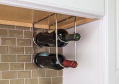 Wine Bottle Holder- Wine Bottle Holder in Satin Nickel Retail Packaged. (Item # WBH-SN-R)