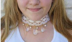 Pearls, Crystals, and Lace Choker | What is better than this BEAUTIFUL crystal, lace, and pearl necklace?
