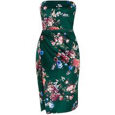 Green Floral Velvet Extreme Split Bandeau Midi Dress ($30) ❤ liked on Polyvore featuring dresses, flower printed dress, velvet midi dress, velvet dress, bandeau midi dress and calf length dresses