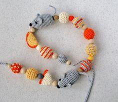 Crochet Teething Nursing necklace Breastfeeding mom от NittoMiton