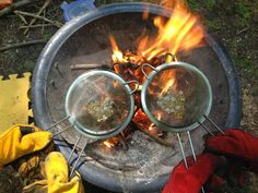Campfire Popcorn with Sieves