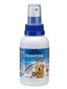 A spray for cats and dogs to treat and prevent flea infestations, ticks and biting lice