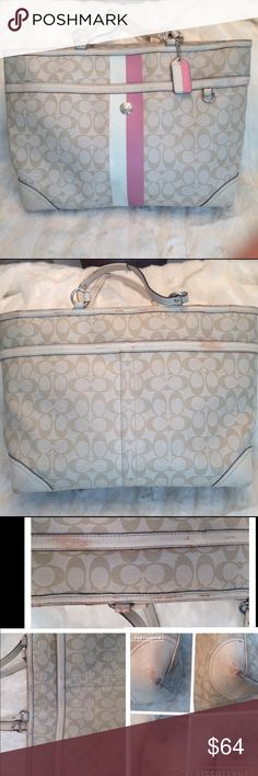 LARGE COACH Leather DIAPER BAG COACH#J0973-F14475. The bag has some color peeling on the straps shown in pic. Corners has some scuffs. Liner needs a little cleaning but stain free. Lots of space. Measure 12x19 Coach Bags Baby Bags