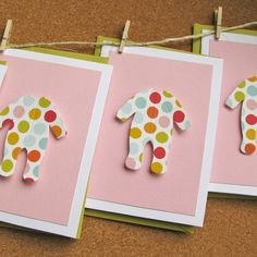 Items similar to baby shower thank you cards - baby laundry - polka dot sleepers on multi layer petal pink cards on Etsy