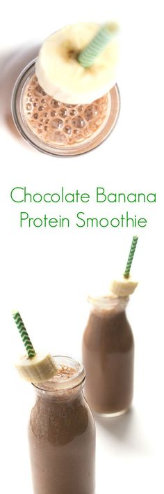 Chocolate Banana Protein Smoothie Recipe - An easy, healthy, delicious breakfast or snack! - The Lemon Bowl