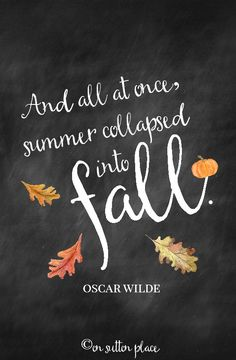Home Style Saturdays | Natural fall decor in the bedroom & dining room, a s'more bar, vintage decorating tips, home tours. Oscar Wilde quote chalkboard printable.