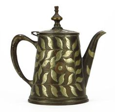 """ARTS AND CRAFTS MIXED METAL COVERED TEA POT Measures Approximately 8-1/2"""" Tall. Hand Hammered Copper, Brass and Silver Inlay. Original Patina"""