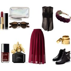 """""""Clear bordeaux"""" by teodora-serban on Polyvore #bordeux #chanel #black #sunglasses #summer #fahion #rings #gold #vintage #style #boots #leather #Daisy #MarcJacobs #clear #bag"""