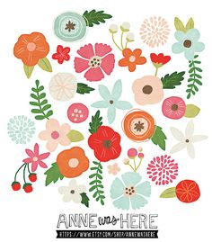 Whimsical Flowers  Digital Clipart Illustrations by AnneWasHere