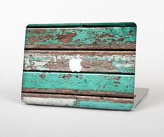 """The Chipped Teal Paint On Wood Skin Set for the Apple MacBook Pro 15"""" with Retina Display"""
